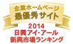 弊社サイトは日興アイ・アール株式会社の「2014年度全上場企業ホームページ充実度ランキング調査 新興市場ランキング最優秀企業ホームページ」に選ばれました。